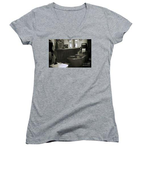 Back When Women's V-Neck T-Shirt (Junior Cut) by Lori Mellen-Pagliaro