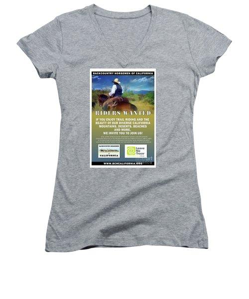 Backcountry Horsemen Join Us Poster Women's V-Neck (Athletic Fit)