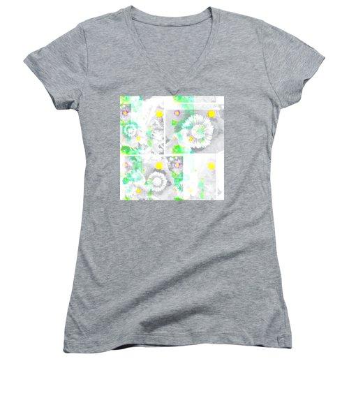 Colour Choice Poppy Collage Women's V-Neck T-Shirt (Junior Cut) by Barbara Moignard