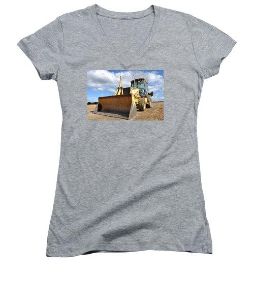 Backhoe Tractor Construction Women's V-Neck
