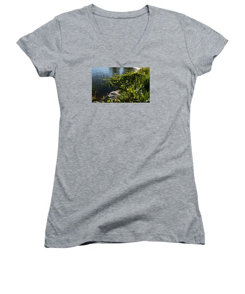 Backlight Plants By The Water  Women's V-Neck T-Shirt (Junior Cut) by Lyle Crump