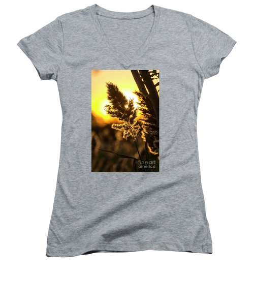 Women's V-Neck T-Shirt (Junior Cut) featuring the photograph Backlit By The Sunset by Zawhaus Photography