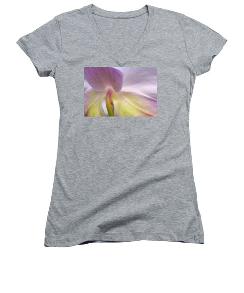 Women's V-Neck featuring the photograph Backlit Orchid by Michael Hubley