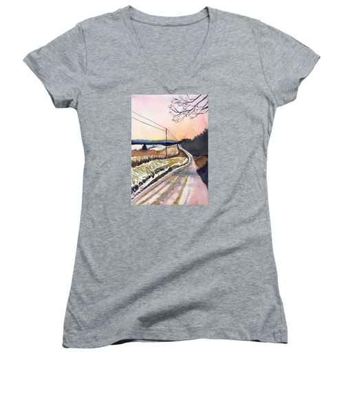 Women's V-Neck T-Shirt (Junior Cut) featuring the painting Backlit Roads by Katherine Miller