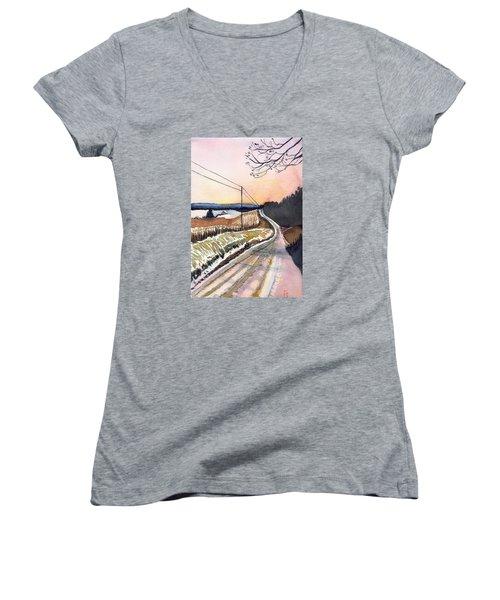 Backlit Roads Women's V-Neck T-Shirt