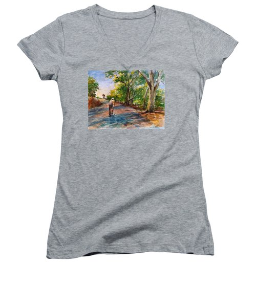 Backwoods Pedaling Women's V-Neck (Athletic Fit)
