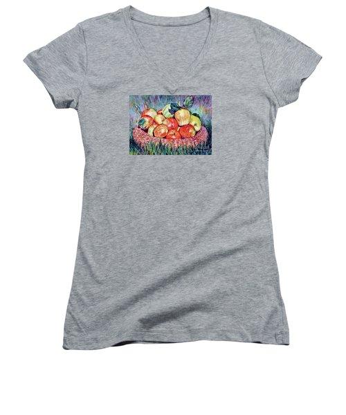 Backyard Apples Women's V-Neck T-Shirt