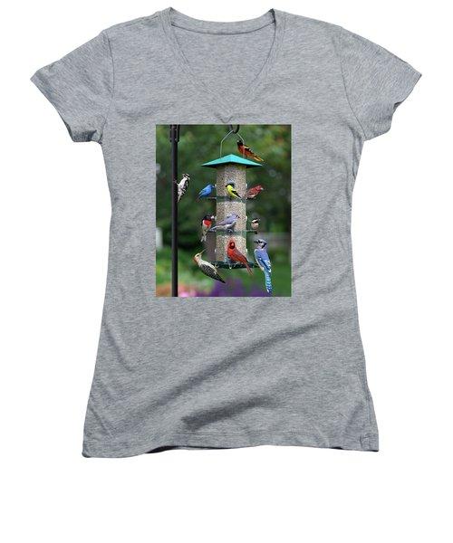 Backyard Bird Feeder Women's V-Neck