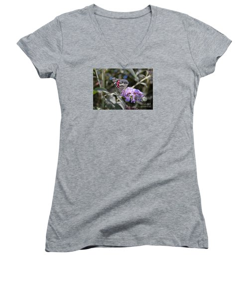 Women's V-Neck T-Shirt (Junior Cut) featuring the photograph Backyard Buckeye Butterfly by Debra Thompson