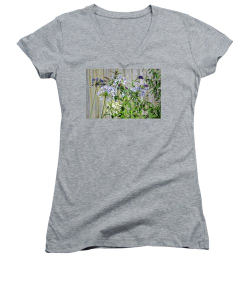 Backyard Flowers Women's V-Neck (Athletic Fit)