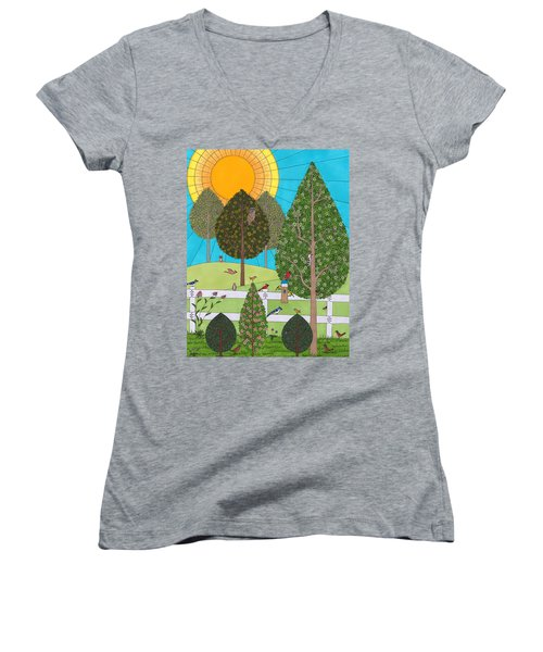 Backyard Gathering Women's V-Neck (Athletic Fit)
