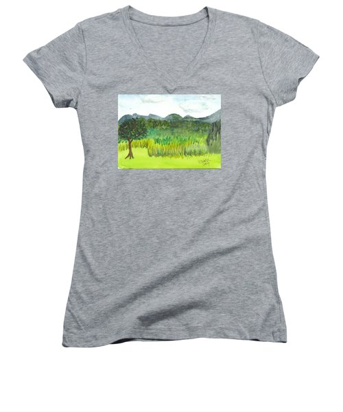 Women's V-Neck T-Shirt (Junior Cut) featuring the painting Backyard In Barton by Donna Walsh