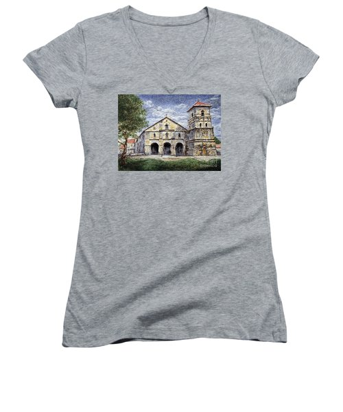 Women's V-Neck T-Shirt (Junior Cut) featuring the painting Baclayon Church by Joey Agbayani