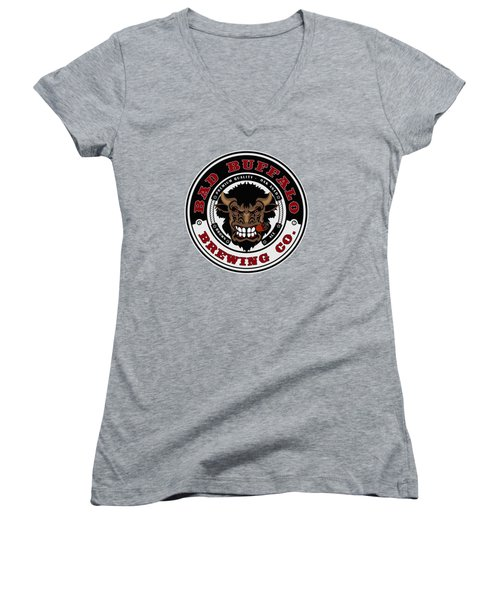 Bad Buffalo Brewing Women's V-Neck T-Shirt (Junior Cut) by Christopher Williams