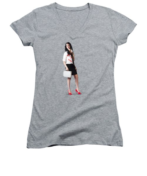 Women's V-Neck T-Shirt (Junior Cut) featuring the photograph Bad Day At The Office by Jorgo Photography - Wall Art Gallery