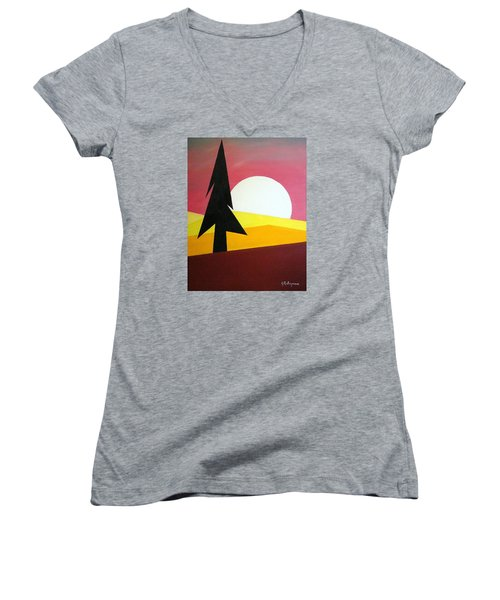 Women's V-Neck T-Shirt (Junior Cut) featuring the painting Bad Moon Rising by J R Seymour