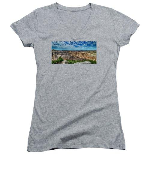 Badlands Landscape Women's V-Neck (Athletic Fit)
