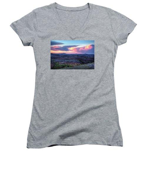 Badlands Sunrise Women's V-Neck T-Shirt (Junior Cut) by Fiskr Larsen