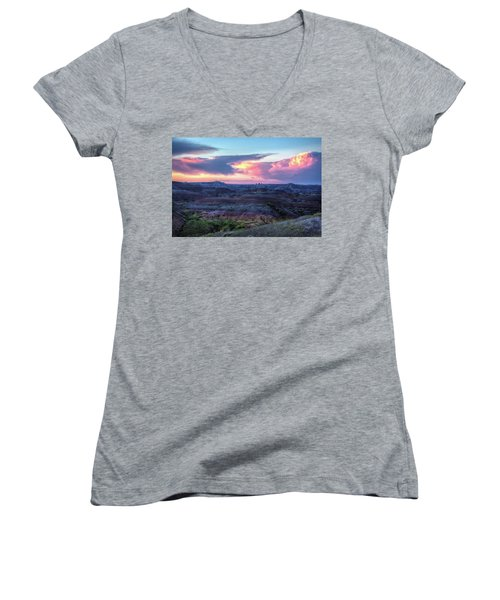 Women's V-Neck featuring the photograph Badlands Sunrise by Fiskr Larsen