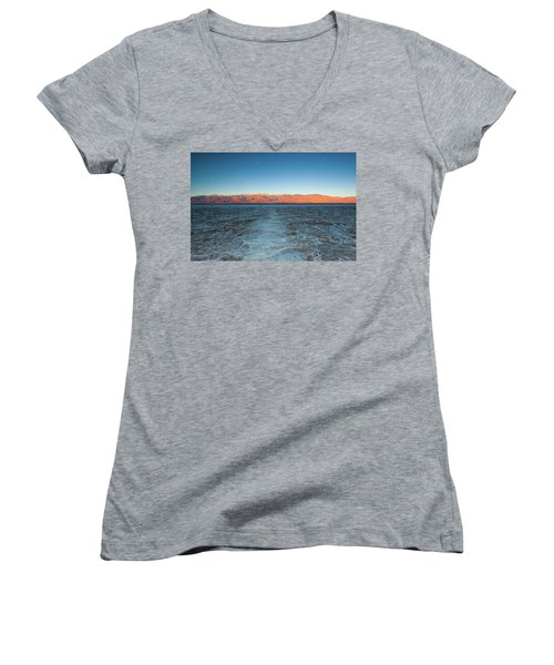 Women's V-Neck T-Shirt (Junior Cut) featuring the photograph Badwater  by Catherine Lau
