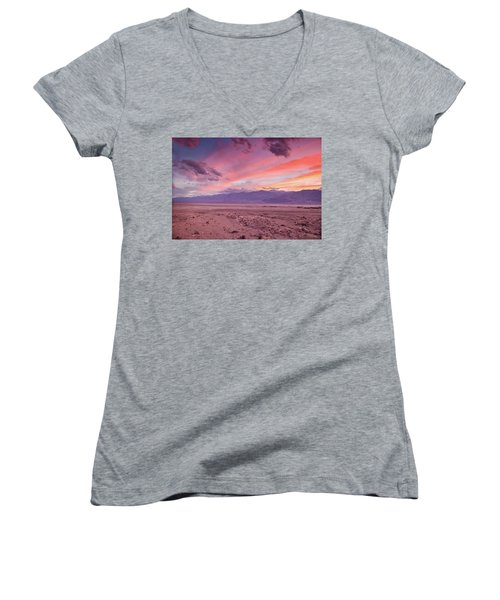 Badwater Sunset Women's V-Neck (Athletic Fit)