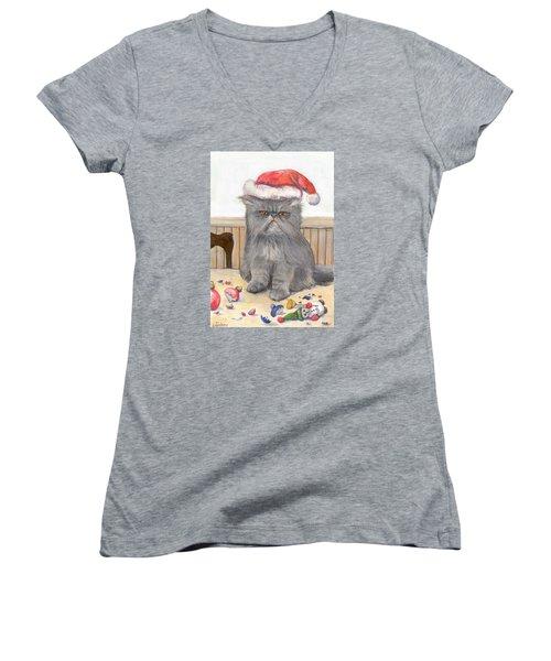 Bah Humbug Women's V-Neck T-Shirt (Junior Cut) by Donna Tucker