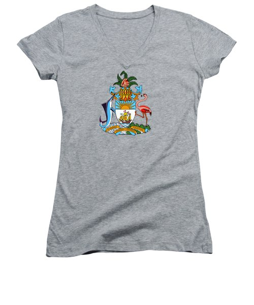 Women's V-Neck T-Shirt (Junior Cut) featuring the drawing Bahamas Coat Of Arms by Movie Poster Prints