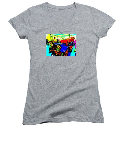 Bahre Car Show II 1 Women's V-Neck T-Shirt (Junior Cut) by George Ramos