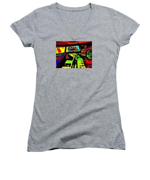Bahre Car Show II 27 Women's V-Neck T-Shirt (Junior Cut) by George Ramos