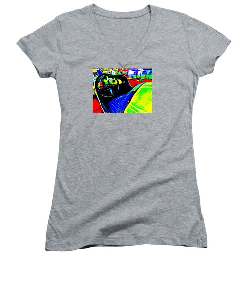 Bahre Car Show II 35 Women's V-Neck T-Shirt (Junior Cut) by George Ramos