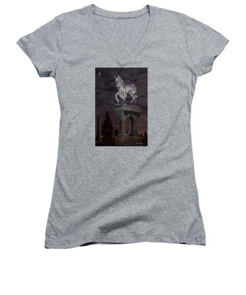 Baker Horse Under The Full Moon Women's V-Neck T-Shirt (Junior Cut) by Stephen  Johnson