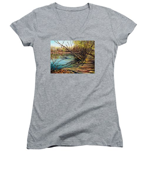 Bakers Pond Ipswich Ma Women's V-Neck T-Shirt (Junior Cut) by Eileen Patten Oliver