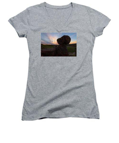 Women's V-Neck T-Shirt (Junior Cut) featuring the photograph Balanced by Mike Dawson