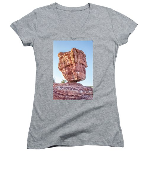 Women's V-Neck T-Shirt (Junior Cut) featuring the photograph Balanced Rock In Garden Of The Gods, Colorado Springs by Peter Ciro
