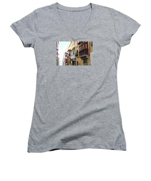 Balconies Of Valletta 3 Women's V-Neck T-Shirt