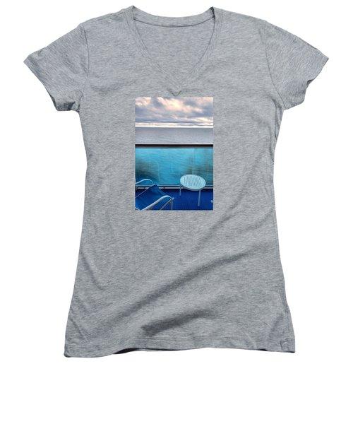 Balcony View Women's V-Neck T-Shirt (Junior Cut) by Lewis Mann