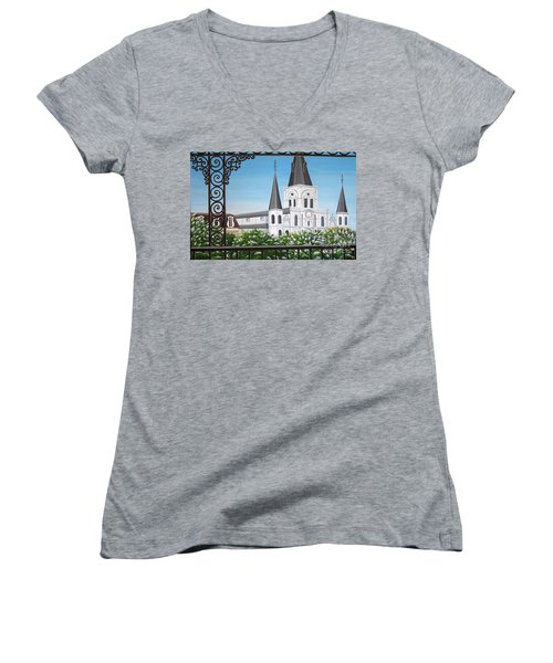 Balcony View Of St Louis Cathedral Women's V-Neck (Athletic Fit)
