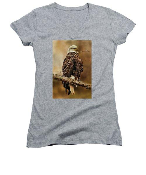 Bald Eagle Perch Women's V-Neck T-Shirt (Junior Cut) by TnBackroadsPhotos