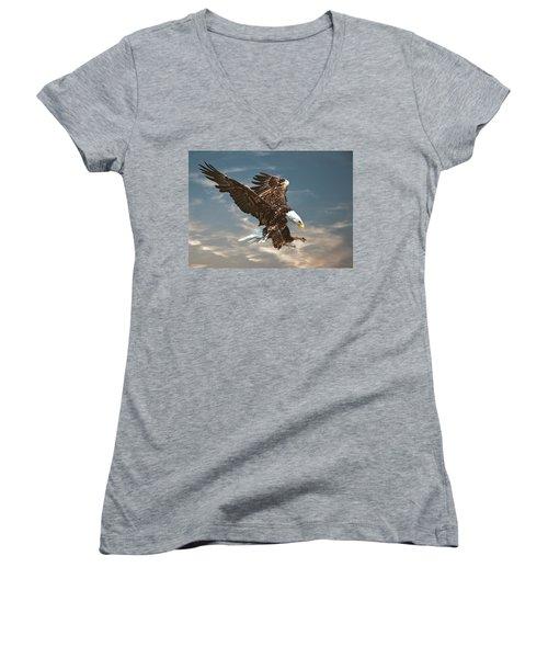 Bald Eagle Swooping Women's V-Neck