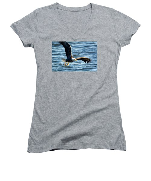 Bald Eagle With Fish Women's V-Neck