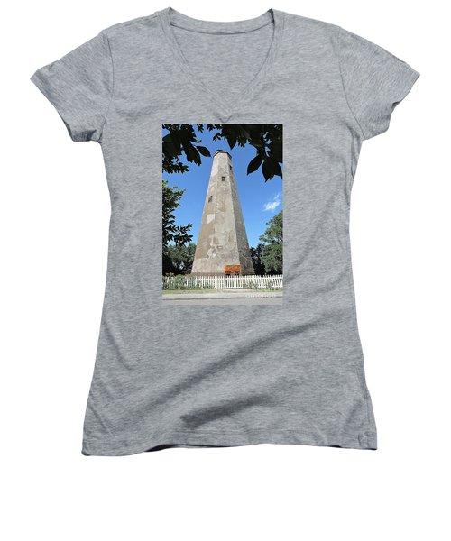 Bald Head Island Lighthouse Women's V-Neck T-Shirt (Junior Cut) by Shelia Kempf
