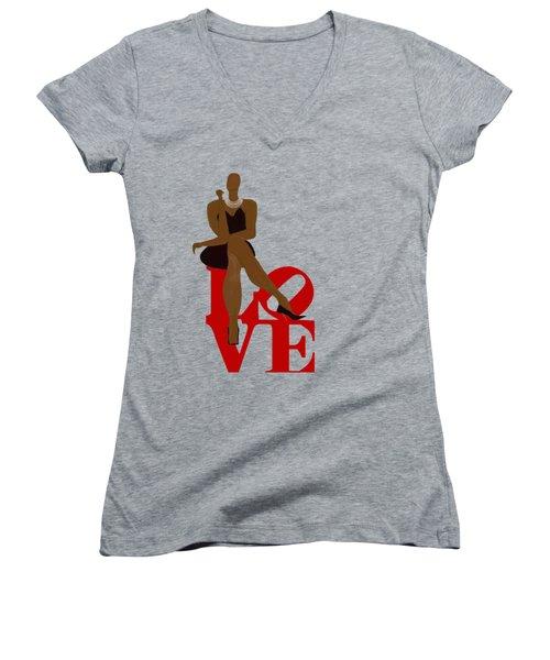 Bald Sitting On Love Women's V-Neck T-Shirt (Junior Cut) by Romaine Head