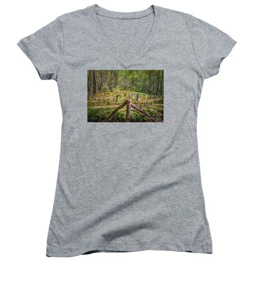 Bales Cemetery Women's V-Neck T-Shirt (Junior Cut) by Patrick Shupert
