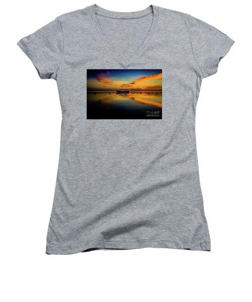 Bali Sunrise 3 Women's V-Neck T-Shirt (Junior Cut) by M G Whittingham