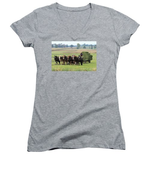 Baling The Hay Women's V-Neck T-Shirt