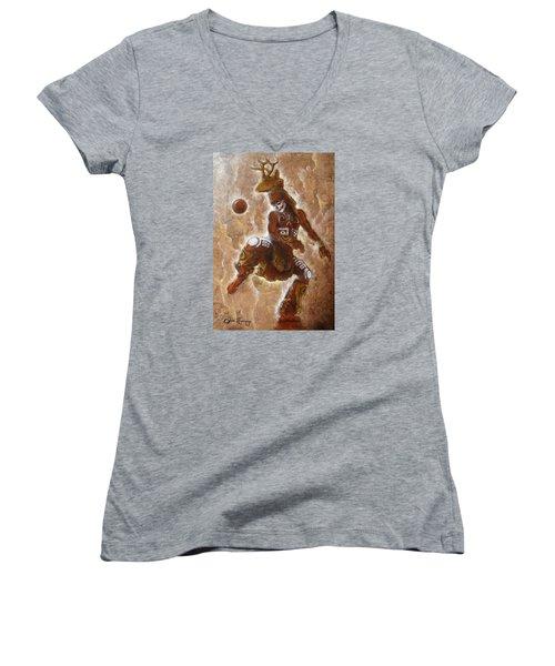 Ball Game Women's V-Neck T-Shirt (Junior Cut) by J- J- Espinoza