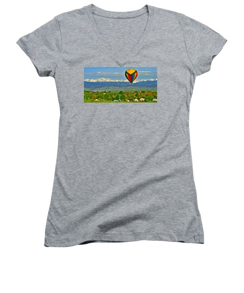 Ballooning Over The Rockies Women's V-Neck (Athletic Fit)