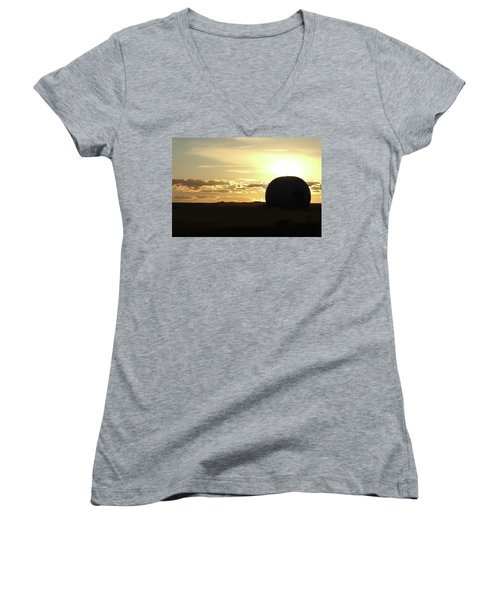 Women's V-Neck T-Shirt (Junior Cut) featuring the photograph Balloonrise by Marie Leslie