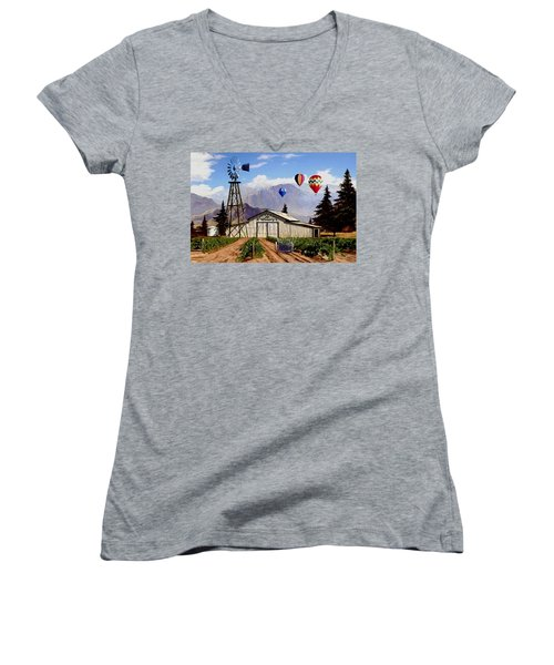 Balloons Over The Winery 1 Women's V-Neck T-Shirt