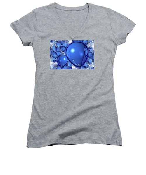 Women's V-Neck T-Shirt (Junior Cut) featuring the digital art Balloons by Ron Bissett